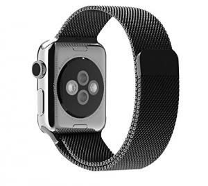 2015 New Original Quality 1:1 Apple Watch Milanese Loop Woven stainless steel mesh with adjustable magnetic closure Apple Watch band metal watch strap-(Black 42mm)