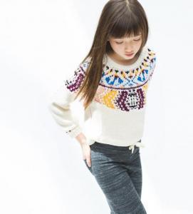 Multicolor jacquard knit sweater
