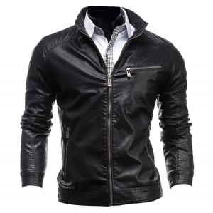 Jeansian Men's Stand-Collar Zipper Pockets Leather Jacket Coat Tops 9309
