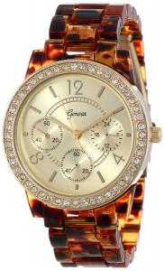 Geneva Women's 2381-Gold/Tort-GEN Rhinestone Accented Tortoise Shell Watch