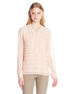 Calvin Klein Women's Sheer Half-Button Blouse
