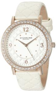 Stuhrling Original Women's 'Audrey 786' Quartz Stainless Steel and White Leather Dress Watch (Model: 786.03)