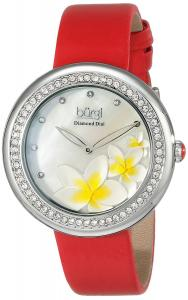 Burgi Women's BUR116RD Diamond-Accented Silver-Tone Watch with Red Satin Band