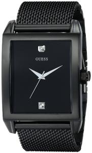 GUESS Men's U0298G1 Diamond-Accented Black-Mesh Watch