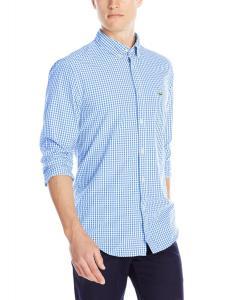 Lacoste Men's Long-Sleeve Poplin Gingham Regular-Fit Shirt
