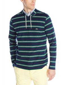 Lacoste Men's Striped Pima Jersey Slim Fit Hooded T-Shirt