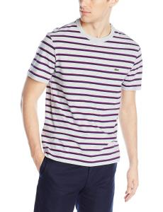 Lacoste Men's Short Sleeve Striped Jersey Regular Fit Crewneck T-Shirt