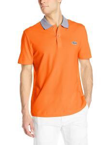 Lacoste Men's Short Sleeve Mini Pique Regular Fit Caviar Croc Polo Shirt