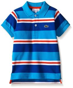 Lacoste Boys' Short Sleeve Striped Mini Pique Polo Shirt