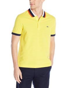 Lacoste Men's Short Sleeve Striped Mini Pique Regular Fit Polo Shirt