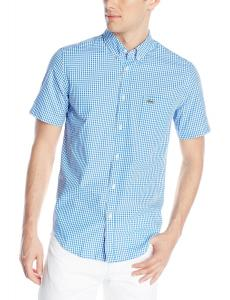 Lacoste Men's Short-Sleeve Poplin Gingham Button-Front Woven Shirt