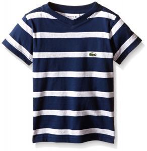 Lacoste Boys' Short Sleeve Striped Jersey V-Neck T-Shirt