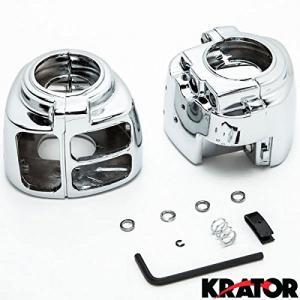 Krator® Harley Davidson 1996-2012 Sportster / Dyna / Softail / V-Rod Custom Chrome Handlebar Switch Housing Cover Kit