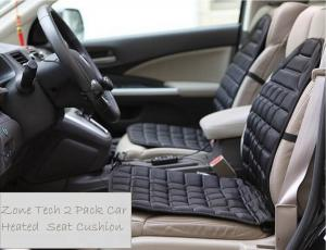Zone Tech 12V 2 Pack Heated Car Seat Cushion with 1 Integrated Plug Adjustable Temperature Heating Pad Pain Reliever
