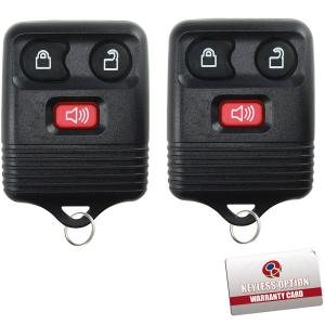 2 KeylessOption Replacement Keyless Entry Remote Control Key Fob Clicker Transmitter 3 Button - Black