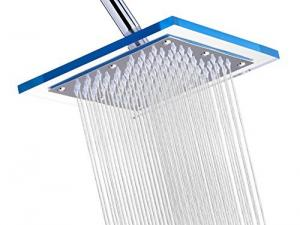 """A-Flow™ Luxury Rain 8"""" Square Stainless Steel Shower Head with Acrylic Sparkling Clear Glass / Enjoy an Invigorating & Luxurious Spa-like Experience - LIFETIME WARRANTY"""