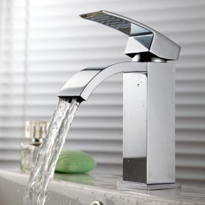 KES® L3109A Single Handle Waterfall Bathroom Vanity Sink Faucet with Extra Large Rectangular Spout, Chrome