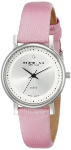 Stuhrling Original Women's 734L.01 Lady Castorra Diamond-Accented Watch with Pink Leather Band