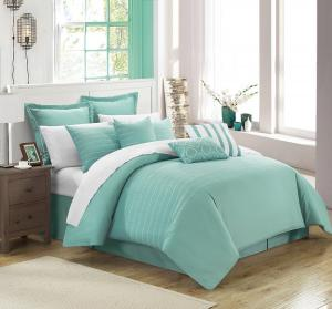 Chic Home 9 Piece Brenton Super Rich Microfiber Stitch Embroidered Comforter, King, Blue