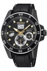 SEIKO SNP089P1 Men's Sportura,Kinetic Perpetual,Stainless Steel Case,Leather Strap,Sapphire Crystal,SNP089