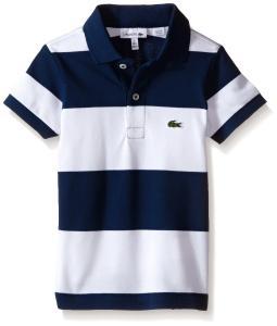 Lacoste Boys' Short Sleeve Bold Striped Pique Polo Shirt