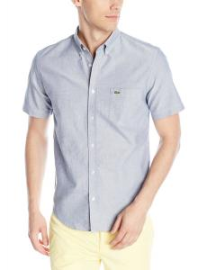 Lacoste Men's Short-Sleeve Button-Front Woven Oxford Shirt