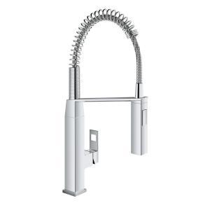GROHE 31401000 Eurocube 1-Handle Profispray Kitchen Faucet in StarLight, Chrome