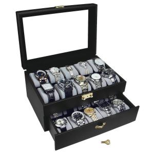 Hộp đựng đồng hồ Ikee Design Deluxe Black Watch Display Case With Key Lock, Clear Glass Top, 20 Watch Holders
