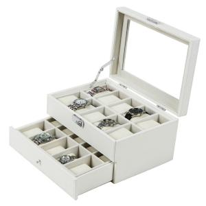 Songmics White Leather 20 Watch Box with Drawer Glass Top Lockable Watch Display Case Organizer UJWB201