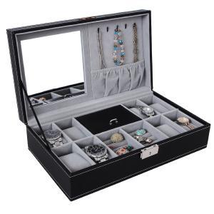 Songmics Black Leather Jewelry Box Watch Organizer Storage Case with Lock & Mirror UJWB41B