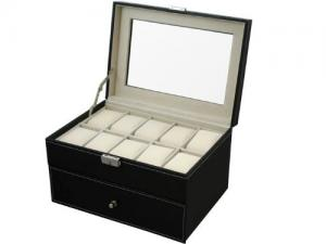 TMS® Black Leather 20 Grid Jewelry Watch Display Organizer Gloss Top Box Case Large