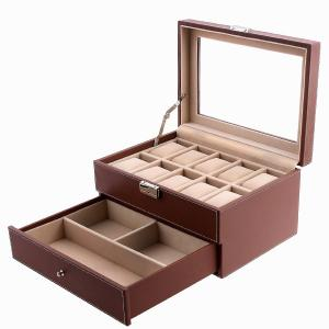 Hộp đựng đồng hồ Songmics Brown Leather 10 Watch Box with Jewelry Display Drawer Glass Top Lockable Watch Case UJWB007
