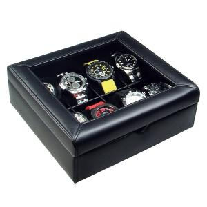 Ikee Design Deluxe Black Faux Leather Watch Case(8 Watches)