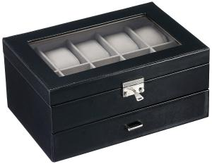 Kendal Watch Case Display Box With Clear Top Holds 20 Watches lock w/ key
