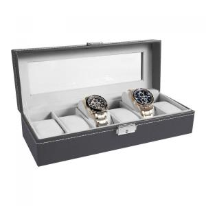 Ohuhu 6-Slot Leather Watch Box with Metal Lock, Great Gift for Father's Day