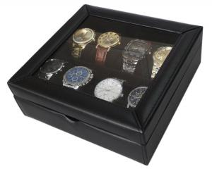 Hộp đựng đồng hồ Sodynee® Deluxe Black Faux Leather Watch Display Case For 8 Watches, Clear Glass Top