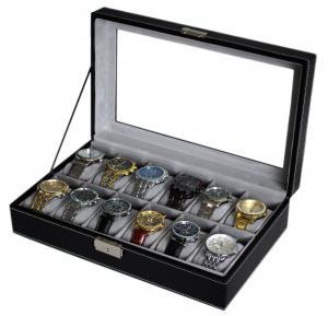 Hộp đựng đồng hồ Sodynee WBPU12-03 Watch Dislpay Box Organizer, Pu Leather with Glass Top, Large, Black