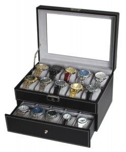 Sodynee® Black Pu Leather 20 Grid Jewelry Watch Display Organizer Gloss Top Box Case Large