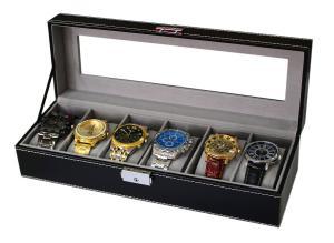 Hộp đựng đồng hồ Sodynee WBPU6-03 6-Compartment, PU Leather Display Glass Top Watch Organizer Box