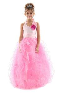 Girl's Special Occasion Pageant Halter Ruffled Tulle Long Dress 2-14
