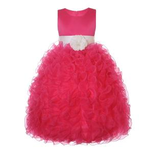 Nancy August Fuchsia Satin Flower Girl Organza Ruffle Pageant Dress 4-14