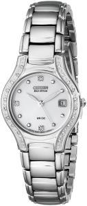Citizen Women's EW0970-51B Silhouette Diamond Eco Drive Watch in Silver Tone