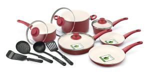 Bộ xoong chảo GreenLife 14 Piece Nonstick Ceramic Cookware Set with Soft Grip, Red