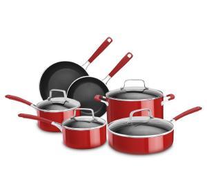 Bộ xoong chảo KitchenAid KCAS10ER Aluminum Nonstick 10-Piece Set Cookware - Empire Red