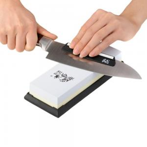 Dụng cụ mài dao Sharpen-Up Premium Two Sided Sharpening Stone With Black Silica Base - Free Sharpening Stabilizer Knife Angle Guide - Two Sided #1000 & #3000 Corundum Global Whetstone - Lifetime Guarantee