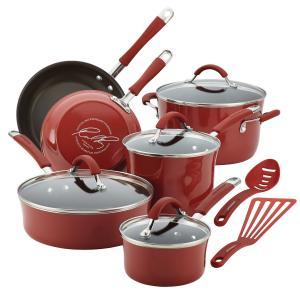 Bộ xoong chảo Rachael Ray Cucina Hard Porcelain Enamel Nonstick Cookware Set, 12-Piece, Cranberry Red