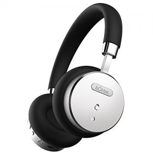 Tai nghe BÖHM Wireless Bluetooth Headphones with Active Noise Cancelling Headphones Technology - Features Enhanced Bass, Inline Microphone & 18-Hour (Max) Battery - Black/Silver