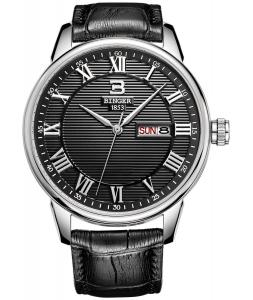 Đồng hồ BINGER Men's Waterproof Day Date Black Metal Dial Roman Numeral Watch With Leather Strap B-3037M-2B