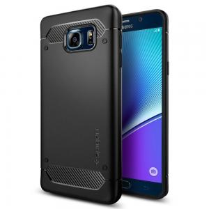 Ốp lưng Galaxy Note 5 Case, Spigen [Rugged Armor] Resilient [Black] Ultimate protection and rugged design with matte finish for Galaxy Note 5 (2015) - Black (SGP11683)