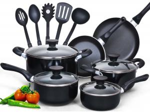Bộ xoong chảo Cook N Home 15 Piece Non stick Black Soft handle Cookware Set